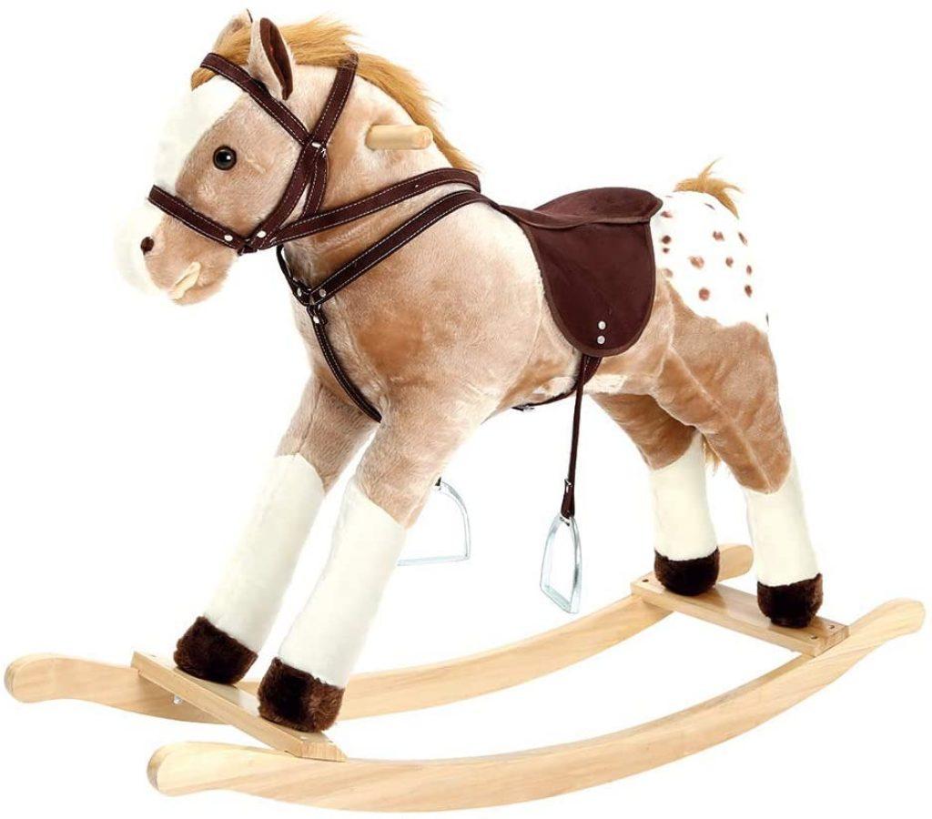 Ce cheval à bascule grand format Bino & Mertens convient aux enfants de 3 ans et plus.