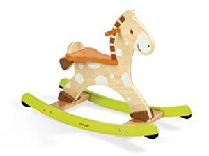Cheval à bascule en bois qui fait aussi bien pour une fille que pour un garçon de part ses couleurs mixtes.