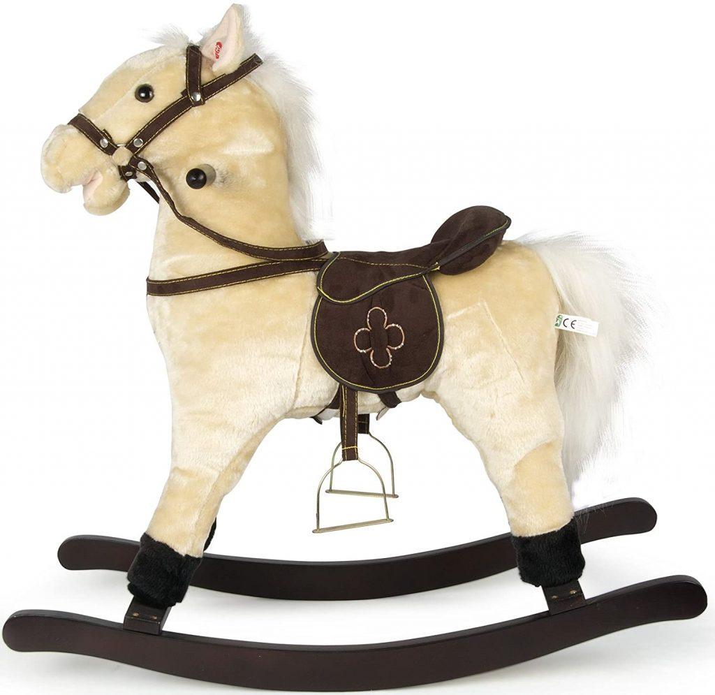Ce cheval à bascule de la marque Leomark dispose d'étriers.