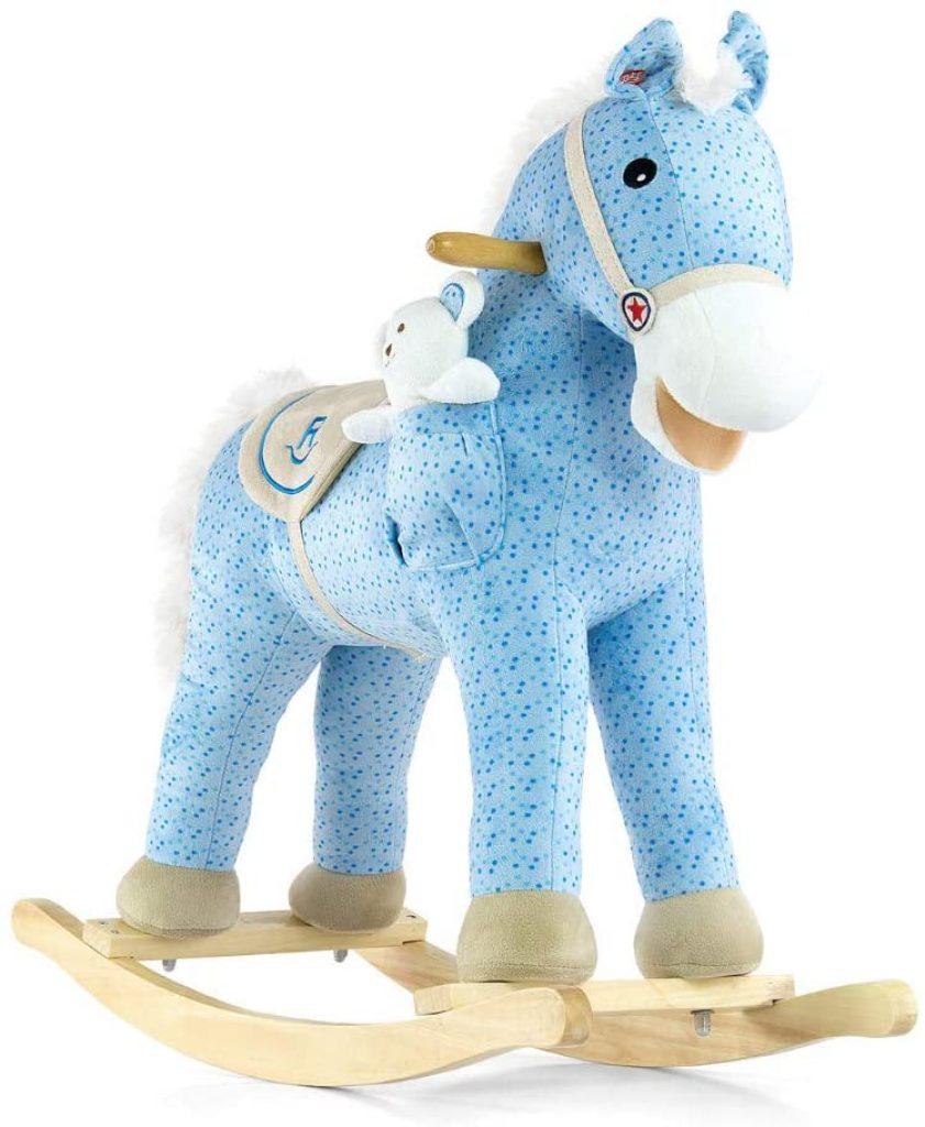 Ce cheval à bascule Milly Mally est de couleur bleue.