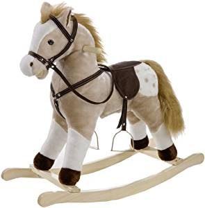 Grand cheval à bascule de la marque Heunec qui a deux étriers.