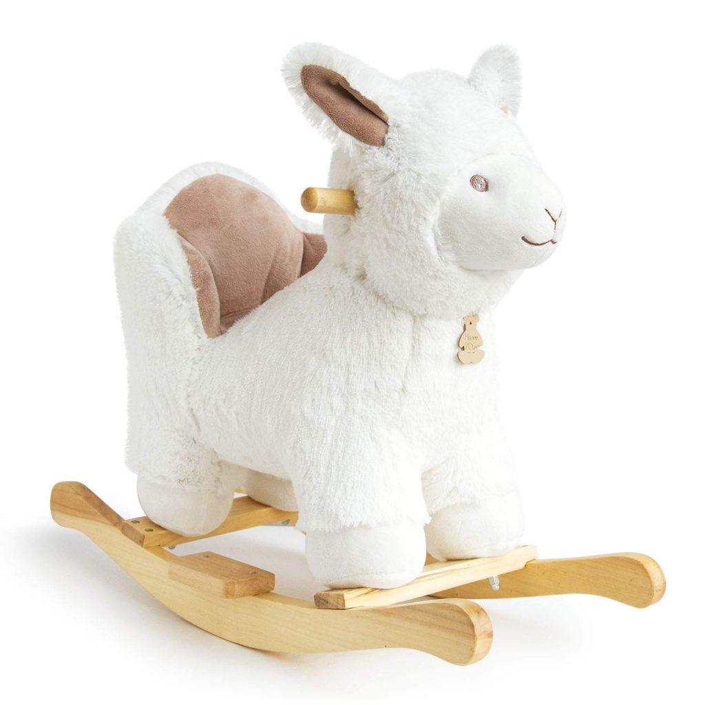 Le lama à bascule Histoire d'Ours est blanc et beige.