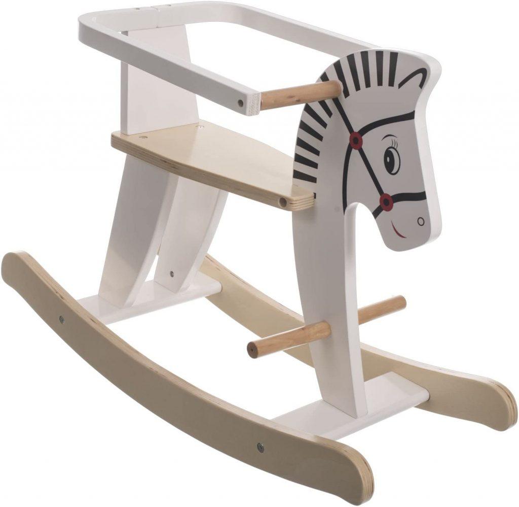 Le cheval à bascule en bois Bieco dispose d'un arceau de sécurité.