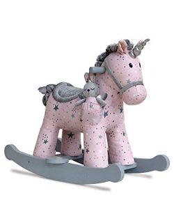 Cette licorne à bascule de la marque Celeste & Fae est de couleur rose et grise.
