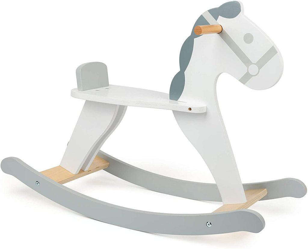 Ce cheval à bascule en bois Small Foot a de belles couleurs mixtes.