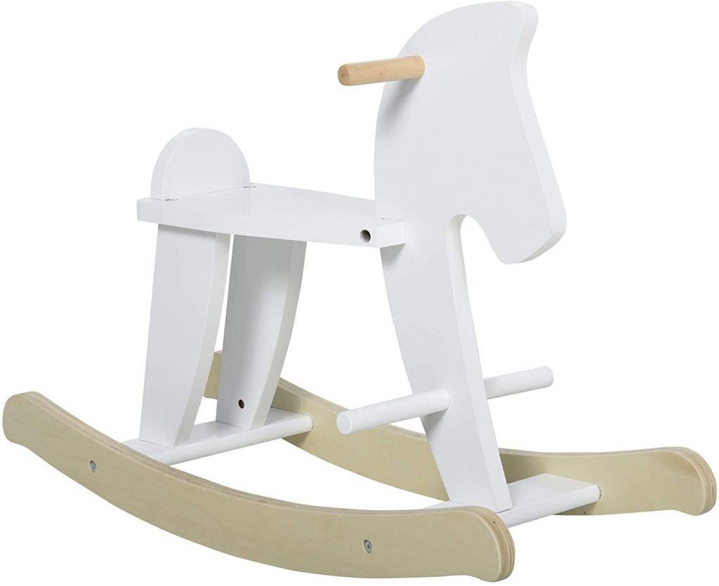 Ce cheval à bascule ne bois Homcom est blanc.