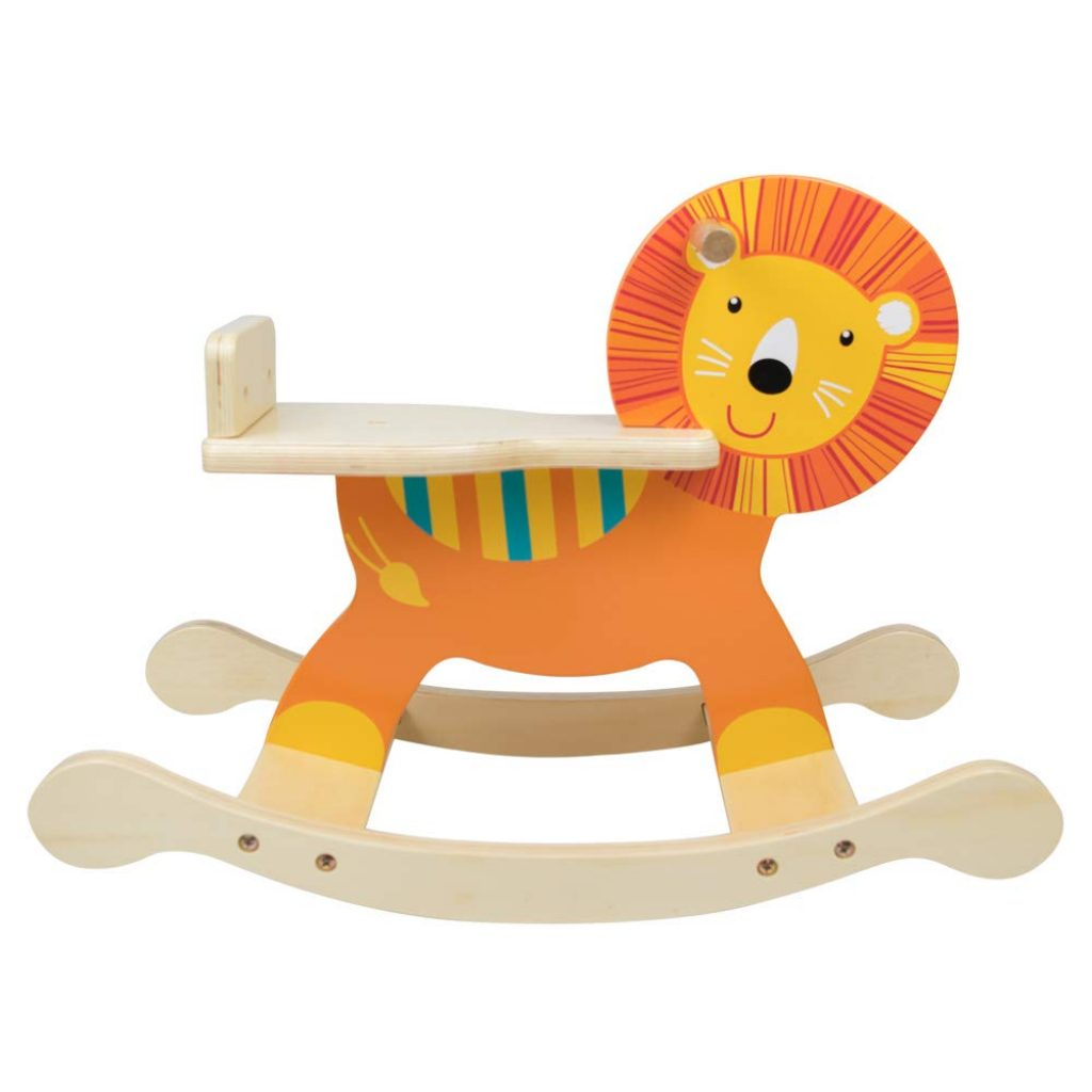 Ce cheval à bascule en bois représente un beau lion.