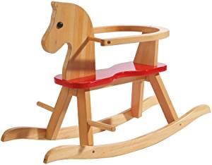 Ce cheval à bascule en bois Roba est de couleur bois et rouge.