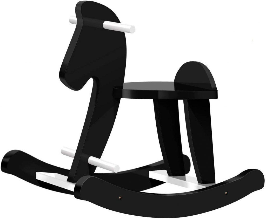 Ce cheval a bascule en bois Labebe est de couleur noir.