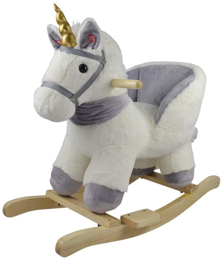 Ce jouet à bascule Knorr Toys est une licorne blanche et grise.