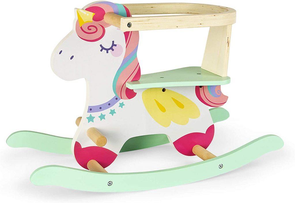 La licorne à bascule en bois Leomark a un superbe design coloré.