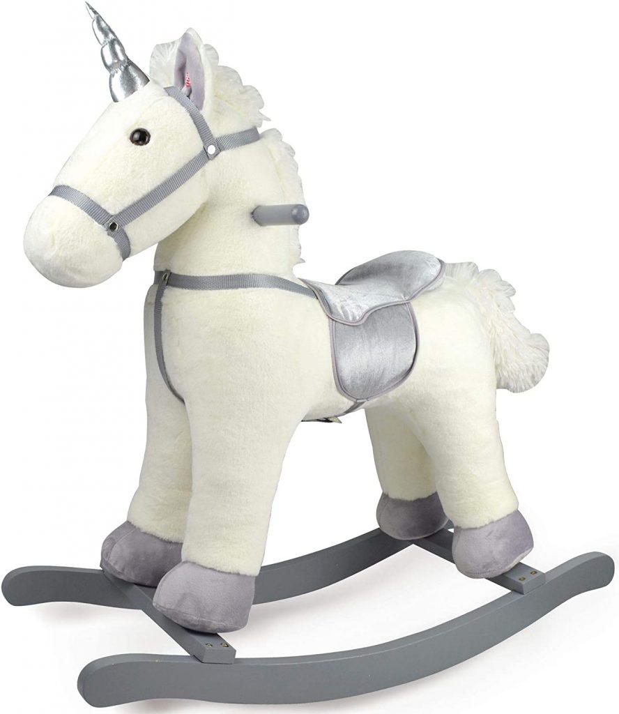 Cette licorne à bascule Leomark est blanche et grise.