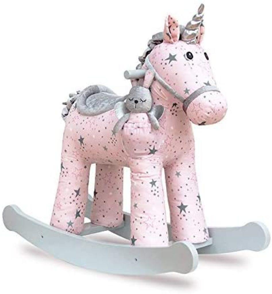 La licorne a bascule Celeste & Fae est rose et grise.
