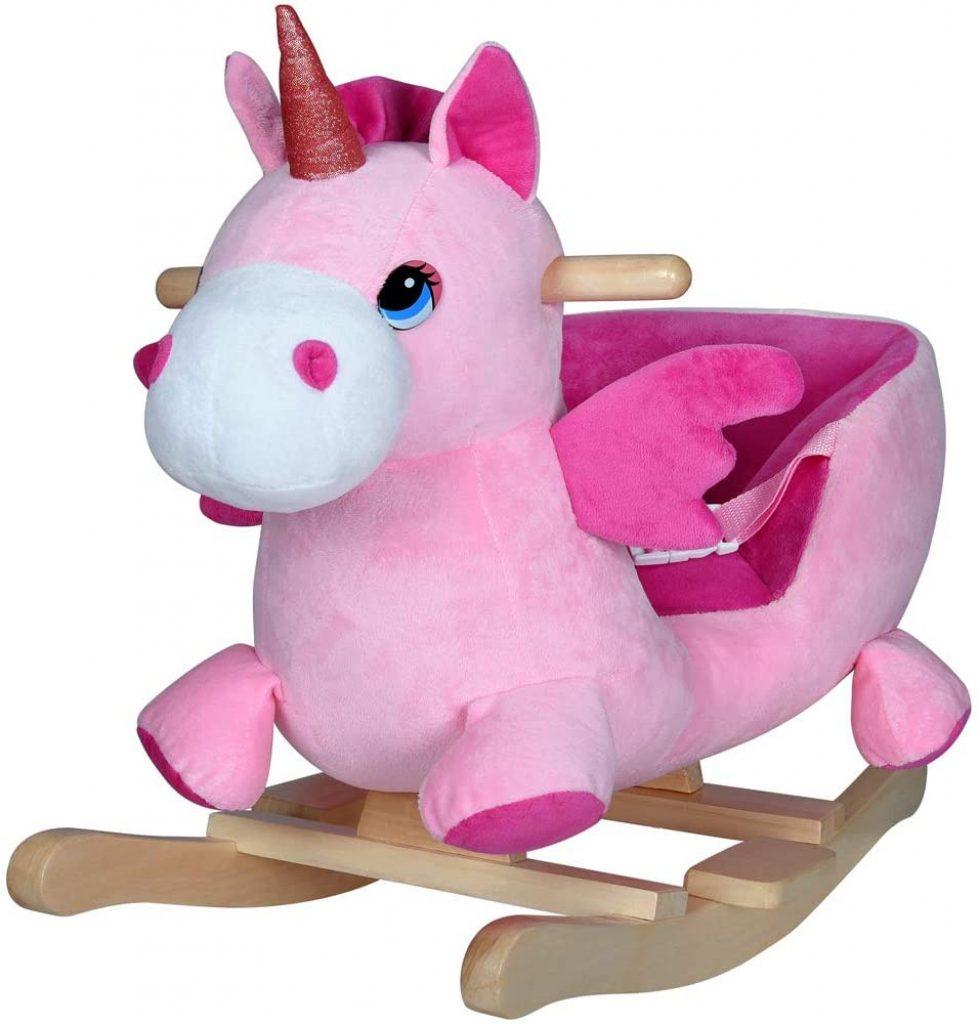 Cette licorne à bascule Deuba est de couleur rose et a des ailes.