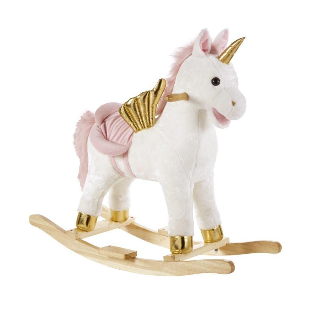 Cette licorne à bascule se prénomme Simone.