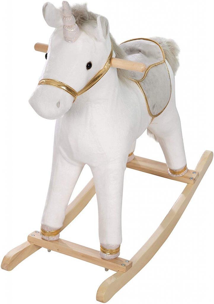 La licorne à bascule blanche Roba a un socle en bois.