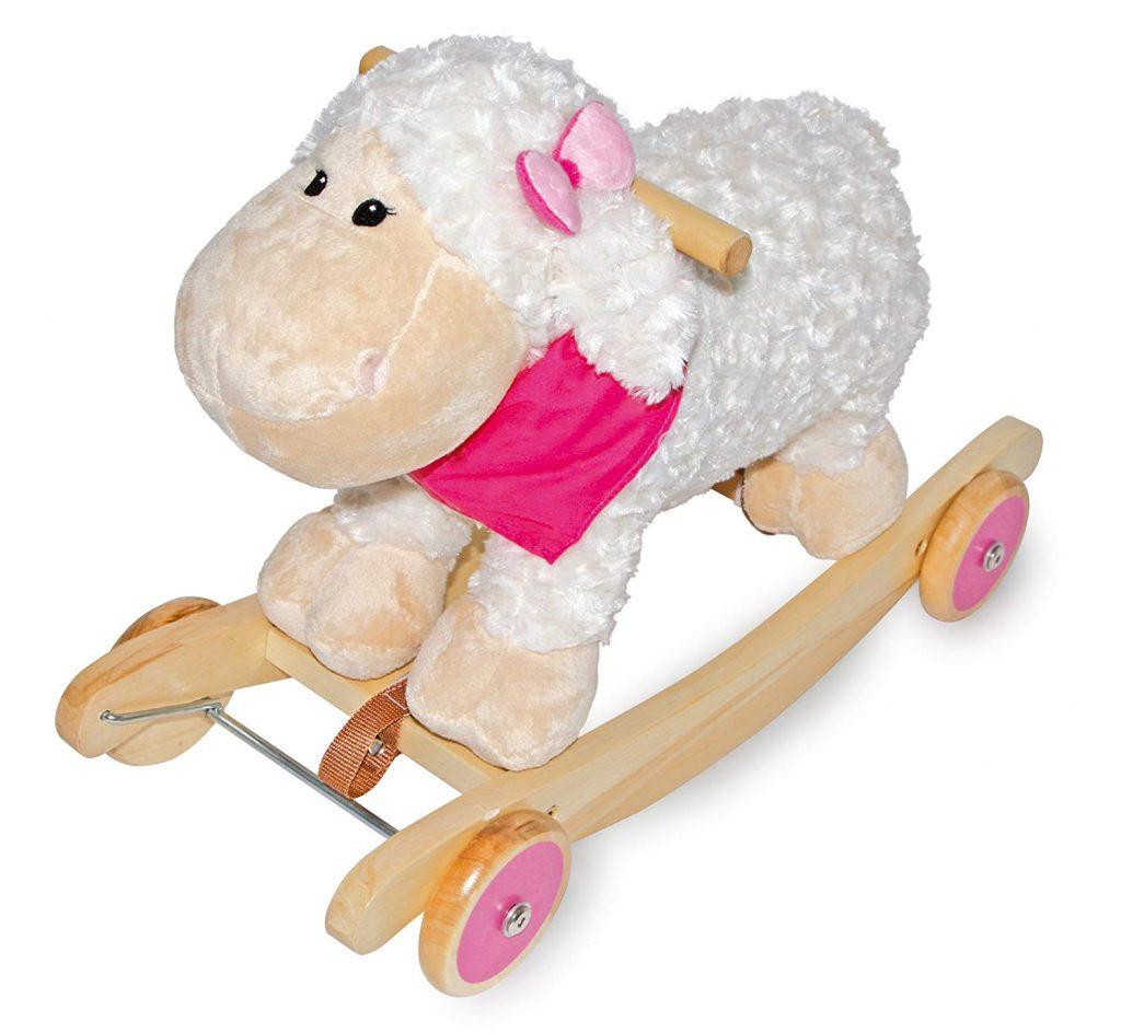 Ce mouton à bascule dispose de roulettes pour se transformer en porteur.