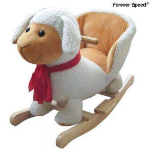 Ce mouton à bascule comporte un fauteuil pour que votre enfant soit bien installé.