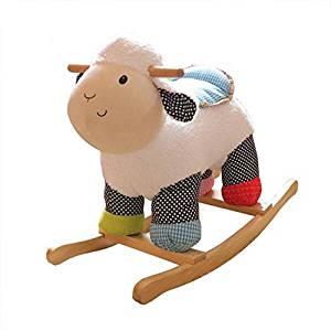 Ce mouton à bascule est coloré avec ses beaux tissus à poids.