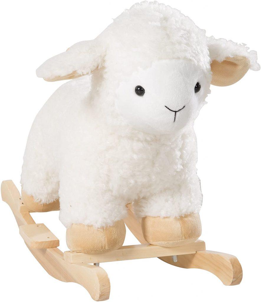 Le mouton à bascule Roba est adorable avec sa fourrure bouclée.
