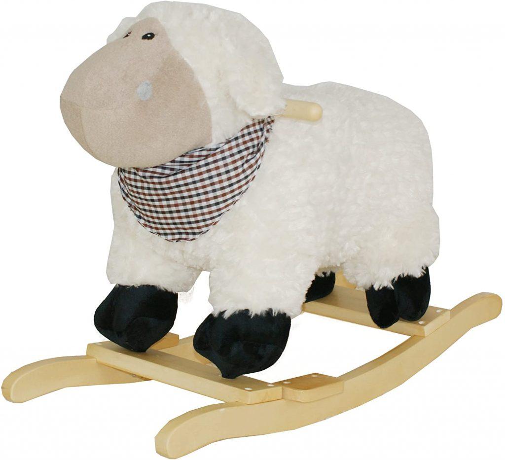 Ce mouton à bascule fait du bruit lorsqu'on appuie sur son oreille.