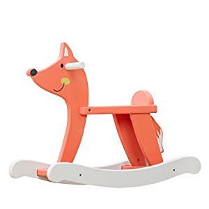 Le renard à bascule en bois Labebe a de jolies couleurs vives.