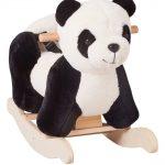 Ce panda à bascule est noir et blanc.