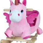 La licorne à bascule sonore Deuba est de couleur rose.